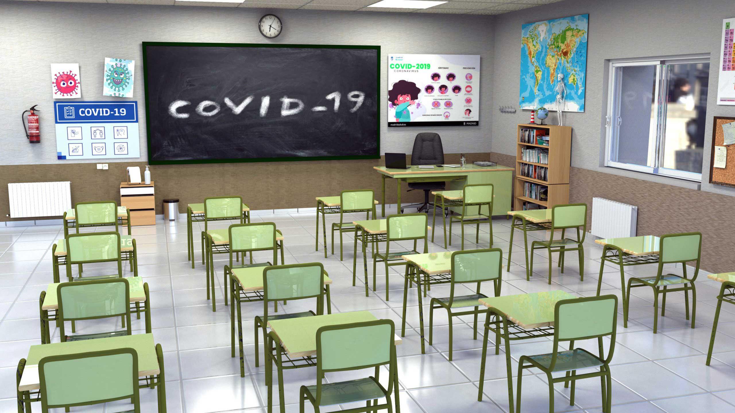 Désinfection de tables et chaises écoles covid-19